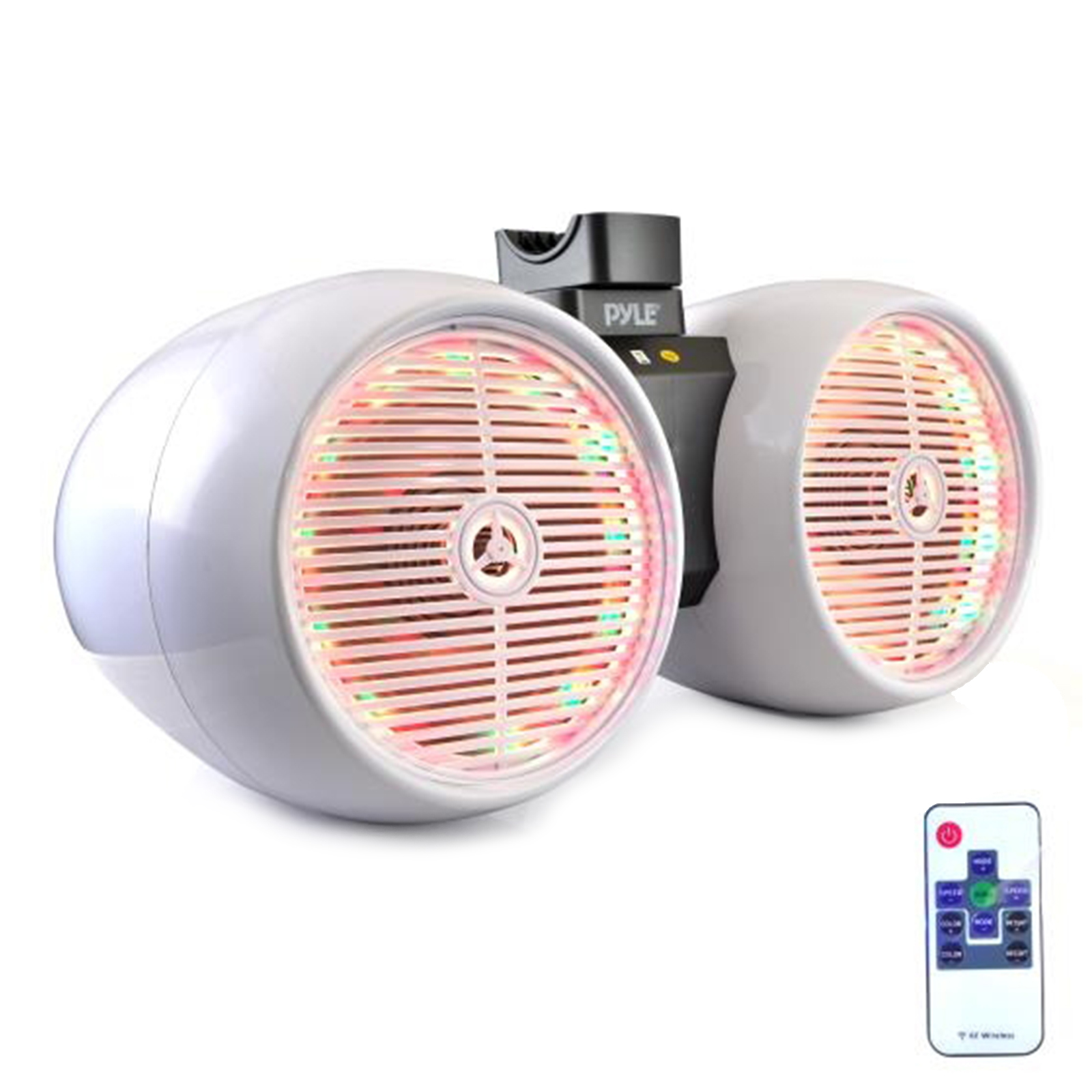 """Dual Marine Tower Speakers, Wakeboard Water Resistant Sound System, Built-in Programmable Multi-Color LED Lights, 600 Watt 8"""" Tower Speakers, Remote Control, White"""