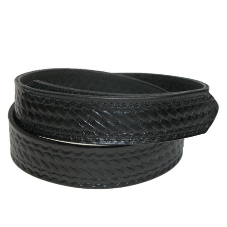 Boston Leather  Mens Leather Basketweave Hook And Loop Mechanics Belt