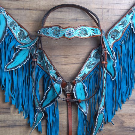 COMFYTACK LEATHER HORSE HEADSTALL BREAST COLLAR TURQUOISE ACORN LEAVES FRINGES