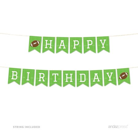 Football Themed Birthday (Birthday Hanging Pennant Party Banner with String, Happy Birthday!, Football Touchdown! Party, 5-Feet, Includes)