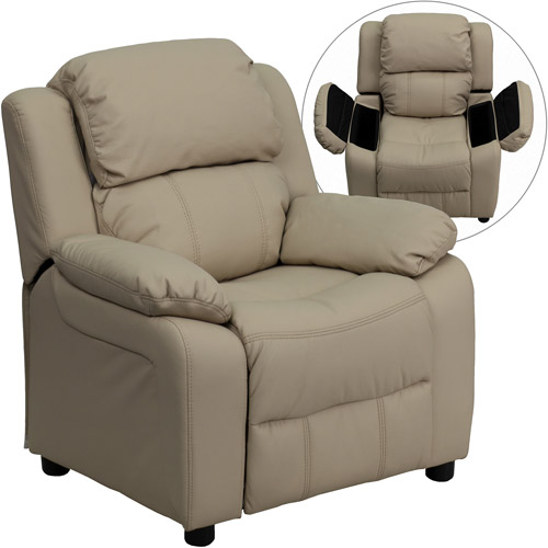Flash Furniture Kidsu0027 Vinyl Recliner With Storage Arms, Multiple Colors
