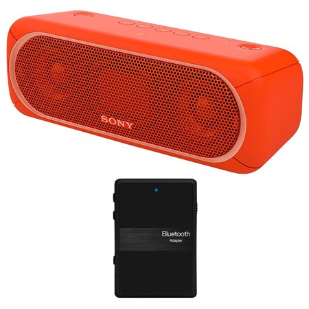 Sony XB30 Portable Wireless Speaker with Bluetooth, Red - SRSXB30/RED (2017 model) + Bluetooth 4.1 Stereo Receiver and Transmitter 2 in 1