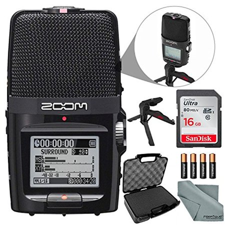 Zoom H2n Portable Handy Digital Audio Recorder Bundle with 16 GB + Case + Batteries + XPIX Tripod + Fibertique Cloth ()