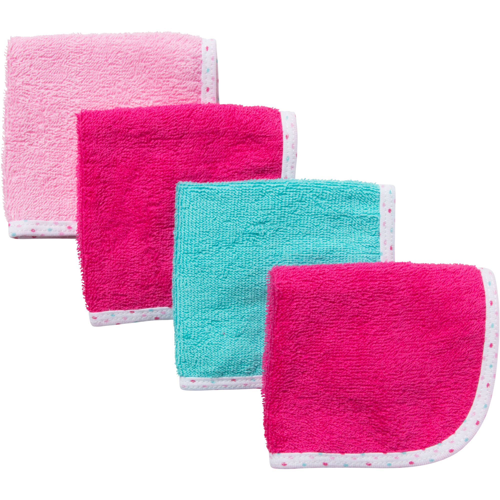 Gerber Newborn Baby Girl Solid Woven Washcloths - 4 Pack