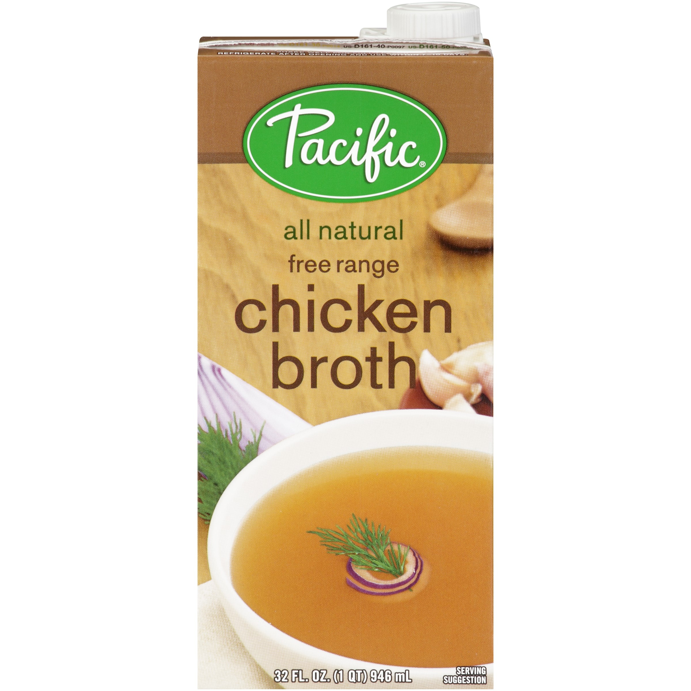 (4 Pack) Pacific Foods Natural Fat-Free Chicken Broth, 32-Ounces