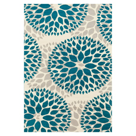 Modern Contemporary Floral Circles Blue 5' x 7' Indoor Area Rug Floral Contemporary Rug