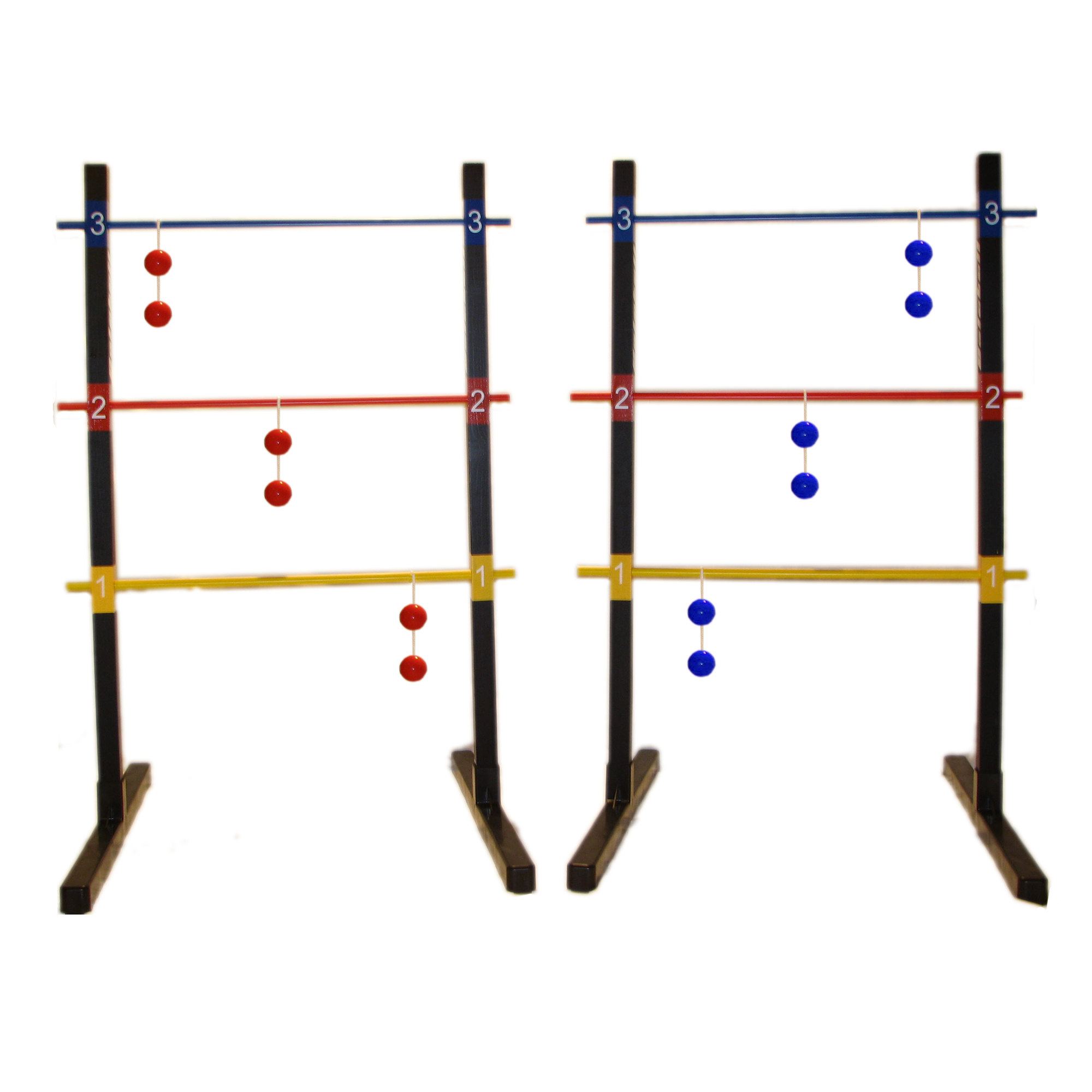 BolaBall Wooden Ladder Golf Game Set Ladderball, Indoor or Outdoor with 6 Bolaball sets, Heavy Duty Carrying Case with Shoulder Strap, T-Base