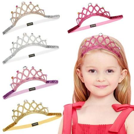 Baby Girls Crown Headbands Hollow Out Glitter Rhinestone Tiara Crown Princess Birthday Wedding Party Headpiece - image 1 de 5