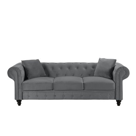 Classic Velvet Scroll Arm Tufted Button Chesterfield Sofa (Grey)