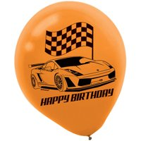 """Racecar 12"""" Latex Balloons (6 Count) - Party Supplies"""