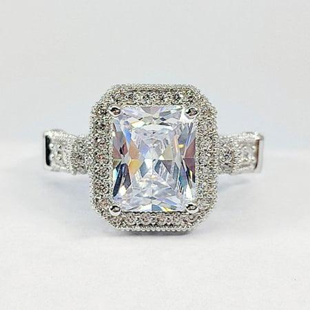 ON SALE - Aurelia 3CT Emerald Cut Halo IOBI Simulated Diamond Ring