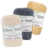 Cotton Yarn - 3 Solid Colors [2.5 oz Each]   White Parchment + Denim Fair + Yellow Country   Worsted/Medium Weight - Assortment for Knitting, Crochet, Needlework, Decor, Arts & Crafts Projects