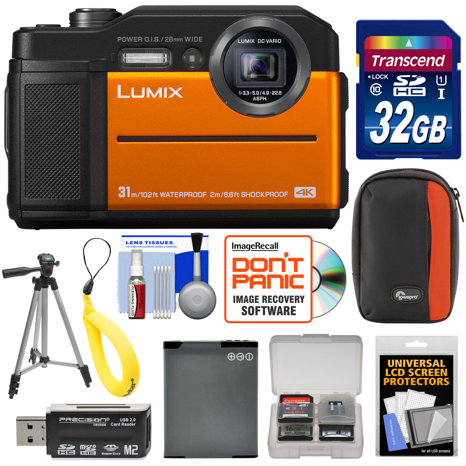 Panasonic Lumix DC-TS7 4K Tough Shock & Waterproof Digital Camera (Orange) with 32GB Card + Battery + Case + Floating Strap + Tripod + Kit