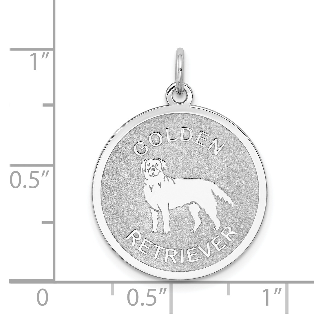 925 Sterling Silver Golden Retriever Disc Pendant Charm Necklace Animal Dog Engravable Round Fine Jewelry Gifts For Women For Her - image 1 of 2