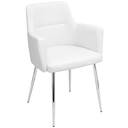 Groovy Andrew Contemporary Dining Accent Chair In Chrome And White Faux Leather By Lumisource Set Of 2 Ibusinesslaw Wood Chair Design Ideas Ibusinesslaworg