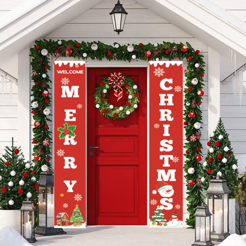 Blue White Xmas Party Decorations Supplies for Home Outdoor Indoor PAKBOOM Merry Christmas Porch Sign Door Banner