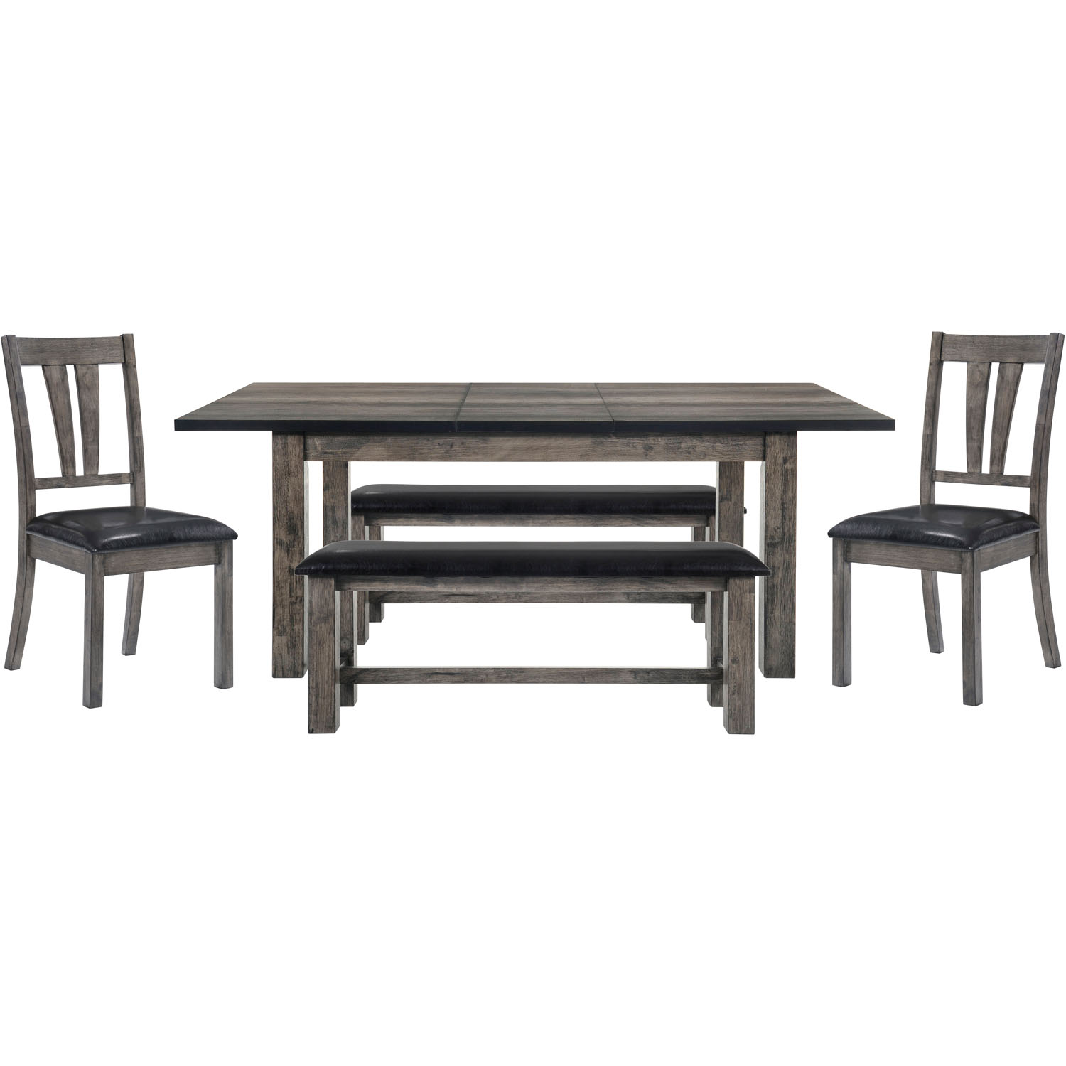 Cambridge Drexel Dining 5-Piece Set: Table, Two Side Chairs and Two Benches