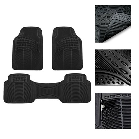 FH Group Rubber Floor Mats All Weather Tirmmable Floor Mats Full Set with Free Air Freshener, 3 Colors