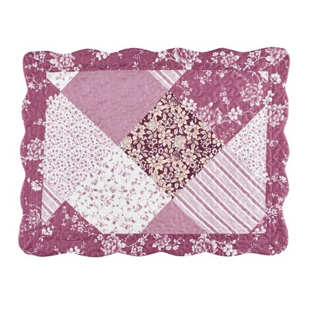 - Delilah Floral Vines Patchwork Pillow Sham, Diamond Patches with Quilted Stitching, Elegant Pink, Burgundy, Beige and White