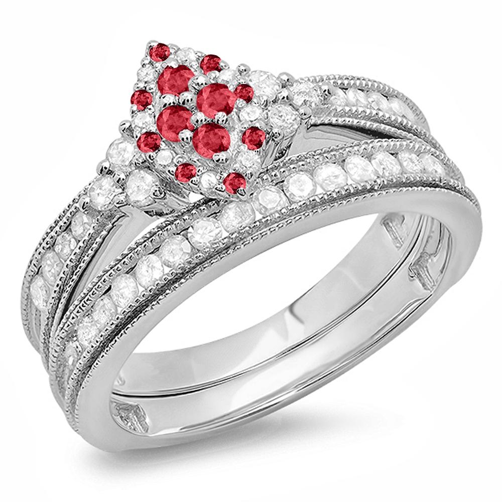 Dazzling Rock Sterling Silver Ruby & White Diamond Marqui...