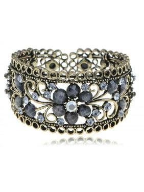 8ba52b3417f Product Image Smoke Black Crystal Rhinestone Jewel Floral Antique Gift Cuff  Bangle Bracelet
