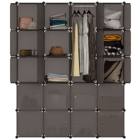Langria 20 Cube Organizer Stackable Plastic Storage Shelves Design Multifunctional Modular Closet Cabinet With Hanging