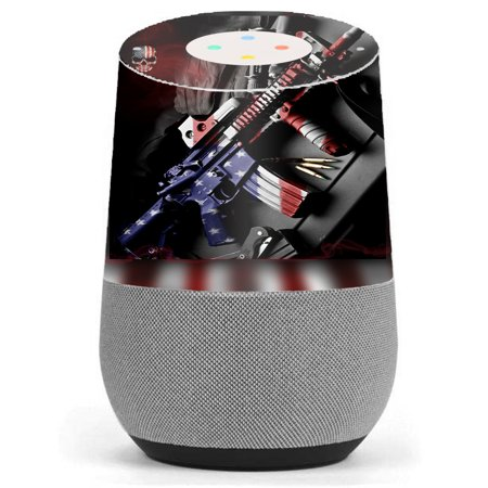 (Skin Decal Vinyl Wrap For Google Home Stickers Skins Cover/ Ar Military Rifle America Flag)