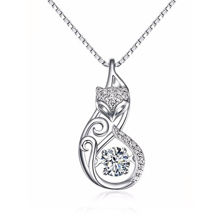 Ginger Lyne Collection Fox Dancing Stone Sterling Silver CZ Pendant Necklace