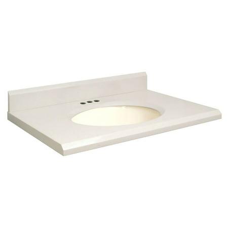 Canterbury Cream - Samson 25W x 22D in. Quartz Single Sink Vanity Top with Biscuit Bowl