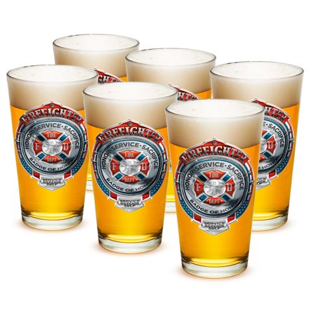 Pint Glasses – Firefighter Gifts for Men or Women – Fire Honor Service Sacrifice Chrome Badge Beer Glassware – Beer Glasses with Logo - Set of 24 (16