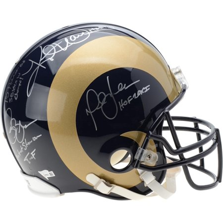 Kurt Warner, Marshall Faulk, Isaac Bruce, & Torry Holt St. Louis Rams Autographed Riddell Throwback Authentic Pro-Line Helmet with Multiple Inscriptions - Fanatics Authentic Certified