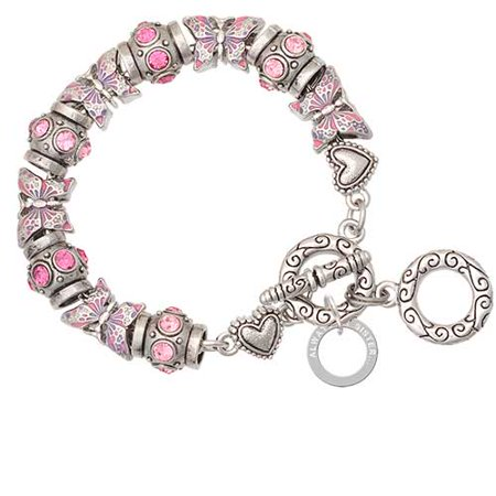 Always My Sister Eternity Ring Pink Butterfly Bead Charm Bracelet