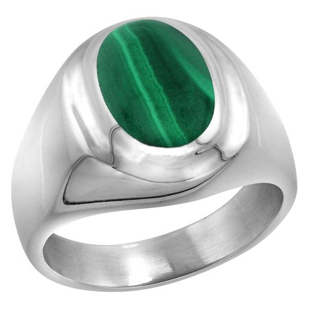 Sterling Silver Malachite Ring for Men Oval Recessed Rim Solid Back Handmade, sizes 8 - 14