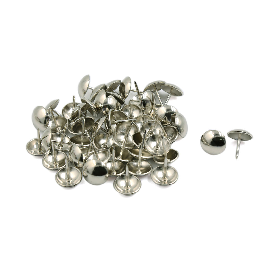 Unique Bargains 50 Pcs Home/Office Steel Board Map Push Pins Thumbtacks w Steel Point Silver Tone