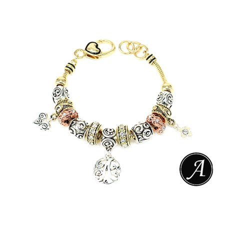 May Bead Girl Charm - Gold Tone Monogram Initial Letter