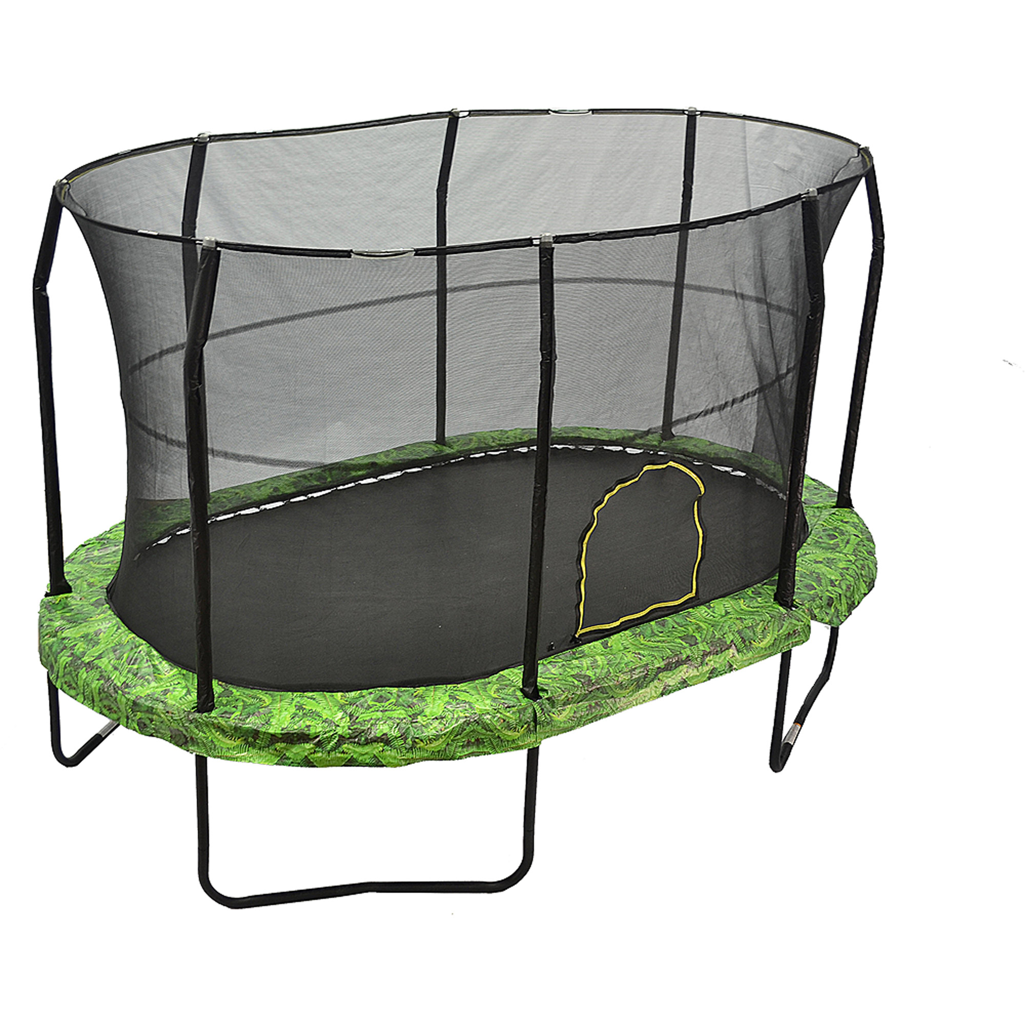 Jumpking Oval 9 x 14 Foot Trampoline, with Safety Enclosure, Green Fern Pattern (Box 1 of 2)