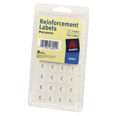 Avery Reinforcement Labels, 0.25 Inches, Round, White, Pack of 560 (Pack of 6)