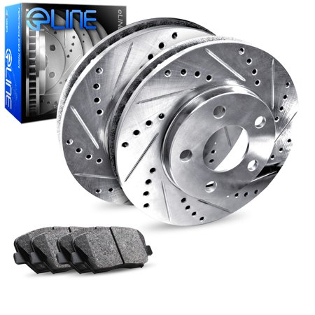 Fits 2004 2005 2006 2007 2008 Acura TL Rear eLine Drilled Slotted Brake Disc Rotors & Ceramic Pads Change Rear Disc Brakes