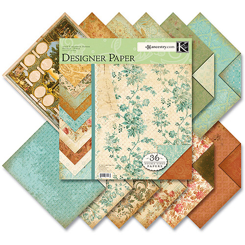 Ancestry.com Two-Sided Paper Pad 12X12 36 Sheets, 3 each of 12 Designs