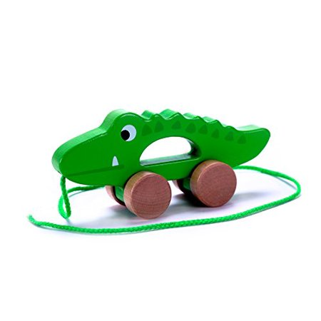 Donkey Pull Toy - Adorable Crocodile Wooden Pull Along Toy for Toddlers Boy & Girl, Rolls Easy, Sturdy String Attached
