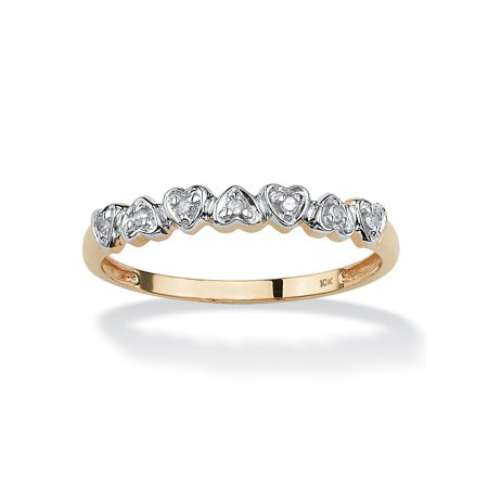 Diamond Accent Multi-Heart Promise Band Ring in Solid 10k Gold