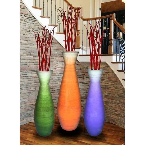 Set Of 3 Tall Bamboo Floor Vases In Orange Purple And Green Walmart Com Walmart Com