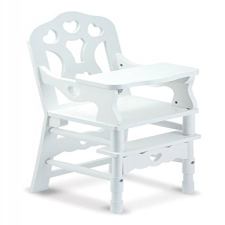 Melissa & Doug White Wooden Doll High Chair With Tray (14.75 x 25 x 14