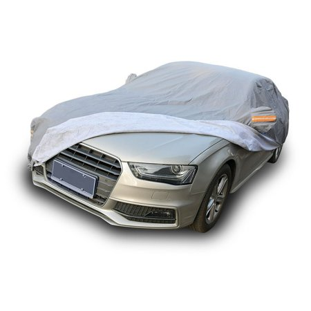 Fit Indoor Car Cover - Breathable Universal Fit Car Cover All Weather Outdoor Indoor Full Waterproof Heat Sun UV Rain Snow Dust Resistant Covers (Fits Cars Up To 185 Inches,PEVA,Gray)
