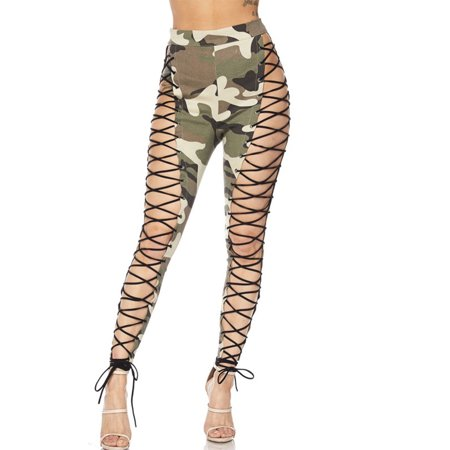 090d807b435cb Genx - Womens Camouflage Military Look Exotic Front Strappy Camo ...