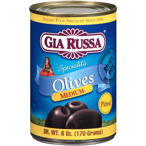 Gia Russa Medium Pitted Olives, 6 oz