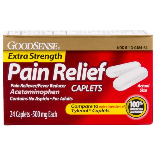 GoodSense Acetaminophen Extra Strength, Pain Reliever/Fever Reducer Caplets, 500 mg, 100 Count