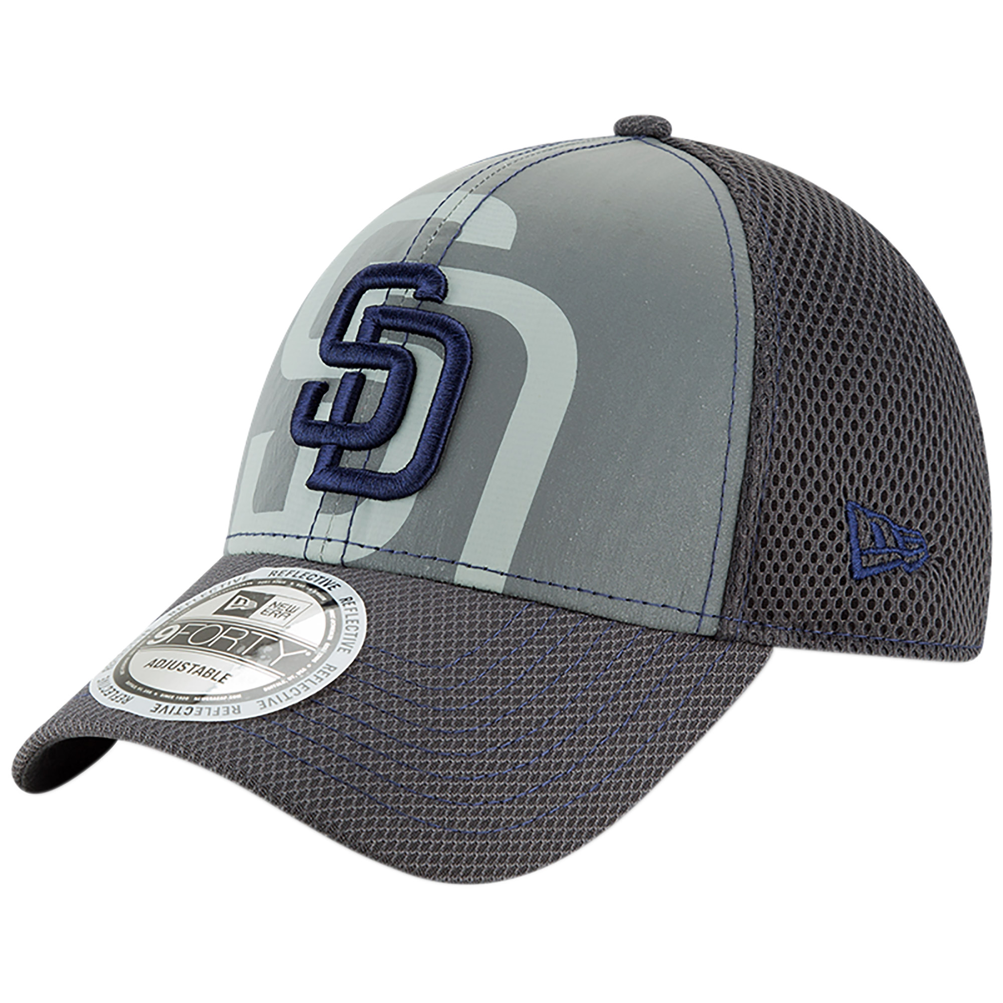 San Diego Padres New Era Youth Meshed Flect 9FORTY Adjustable Hat - Gray - OSFA