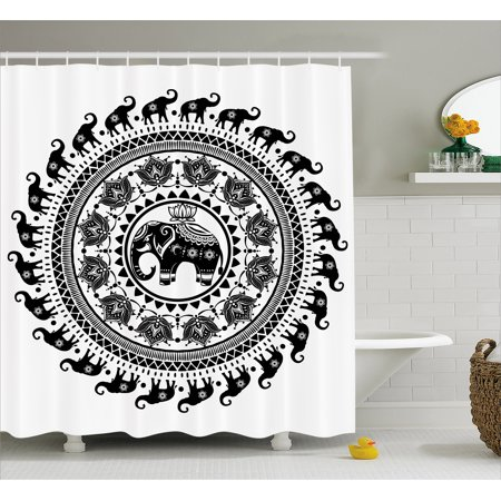 Elephant Mandala Shower Curtain  Seven Royal Symbols And A Guardian Of Temples Spirit Animal Circle  Fabric Bathroom Set With Hooks  69W X 84L Inches Extra Long  Black And White  By Ambesonne