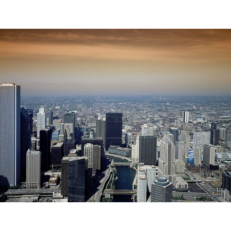 LAMINATED POSTER Cities Illinois Urban City Skyline Chicago Poster Print 24 x 36 (Party City Hours Chicago)